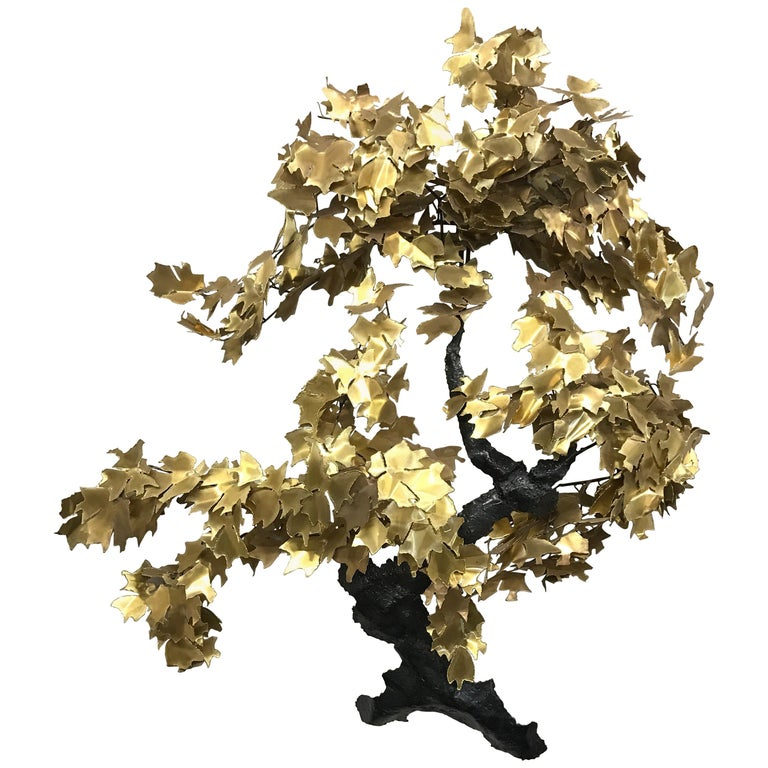 Midcentury Wall Sculpture Brass and Enameled Copper, Italy For Sale