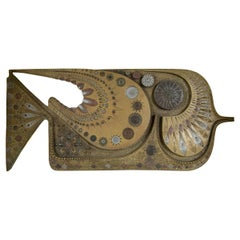 Midcentury Wall Sculpture of a Fish