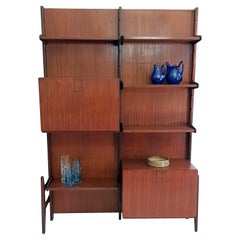 Midcentury Wall Unit Bookshelf in Teak by Fratelli Proserpio, Italy