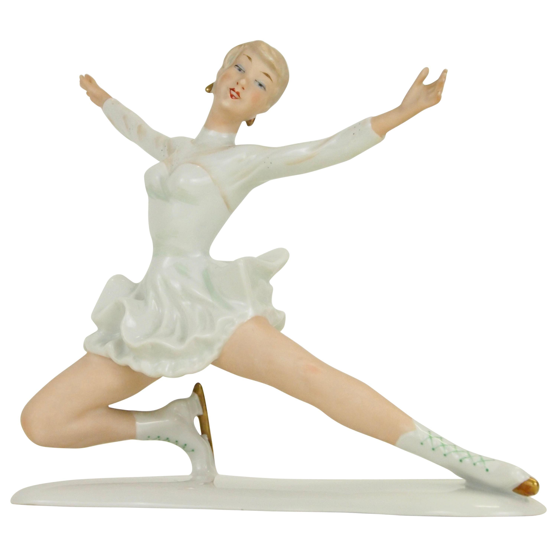 Midcentury Wallendorf Porcelain Figurine Depicting Figure Skater Sonja Henie