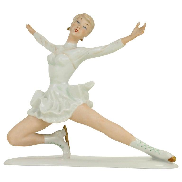 Midcentury Wallendorf Porcelain Figurine Depicting Figure Skater Sonja Henie For Sale