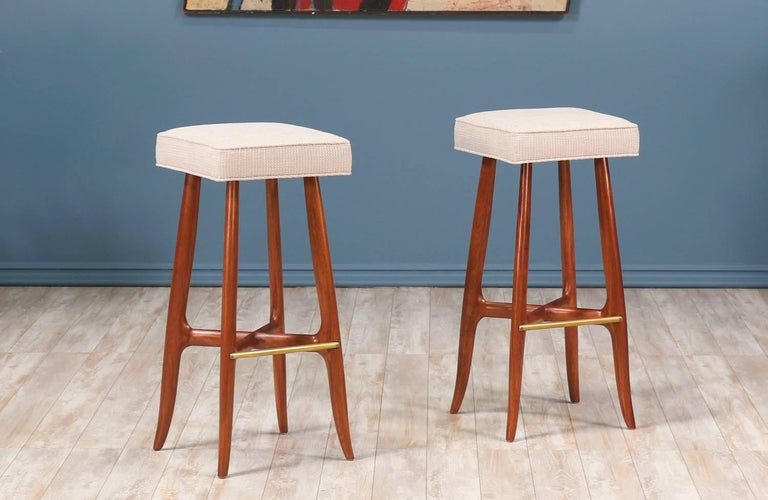 e68d3cec1f1c0c Mid-Century Modern Midcentury Walnut and Brass Bar Stools For Sale