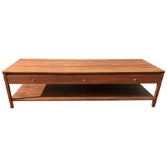 Midcentury Walnut and Brass Coffee Table