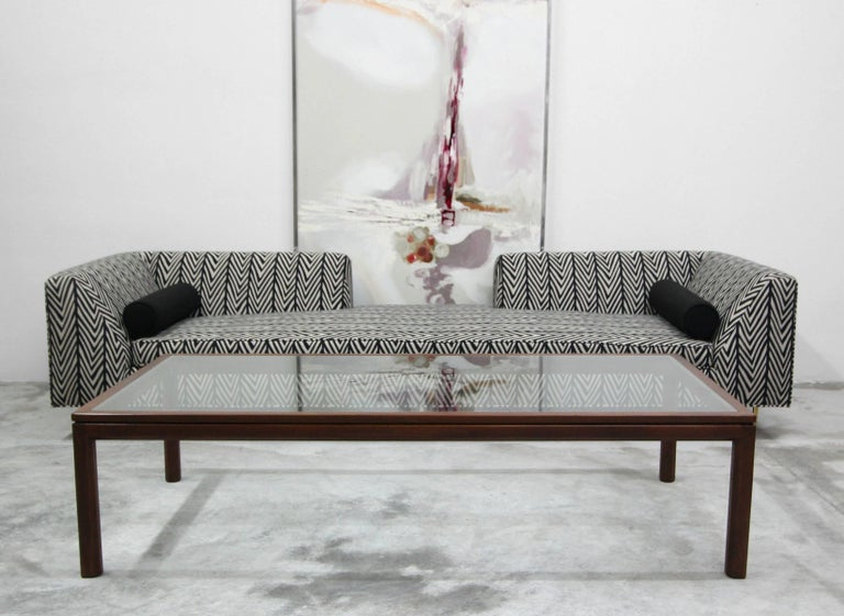 Minimalist Midcentury Walnut and Glass Coffee Table by Edward Wormley for Dunbar For Sale