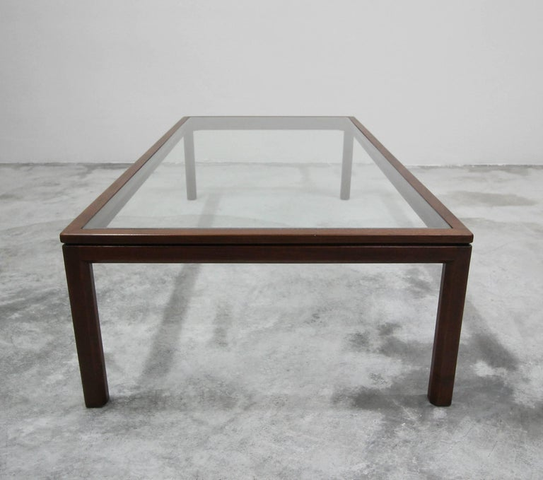 20th Century Midcentury Walnut and Glass Coffee Table by Edward Wormley for Dunbar For Sale
