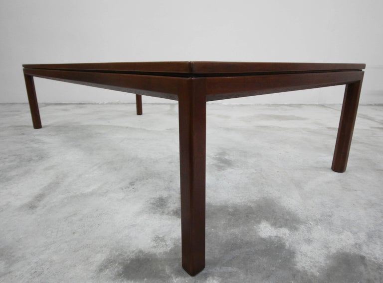 Midcentury Walnut and Glass Coffee Table by Edward Wormley for Dunbar For Sale 2