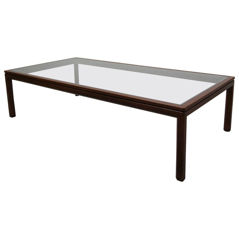 Midcentury Walnut and Glass Coffee Table by Edward Wormley for Dunbar For Sale