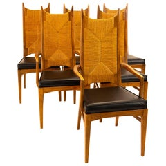 Mid Century Walnut and Rope Dining Chairs, Set of 6