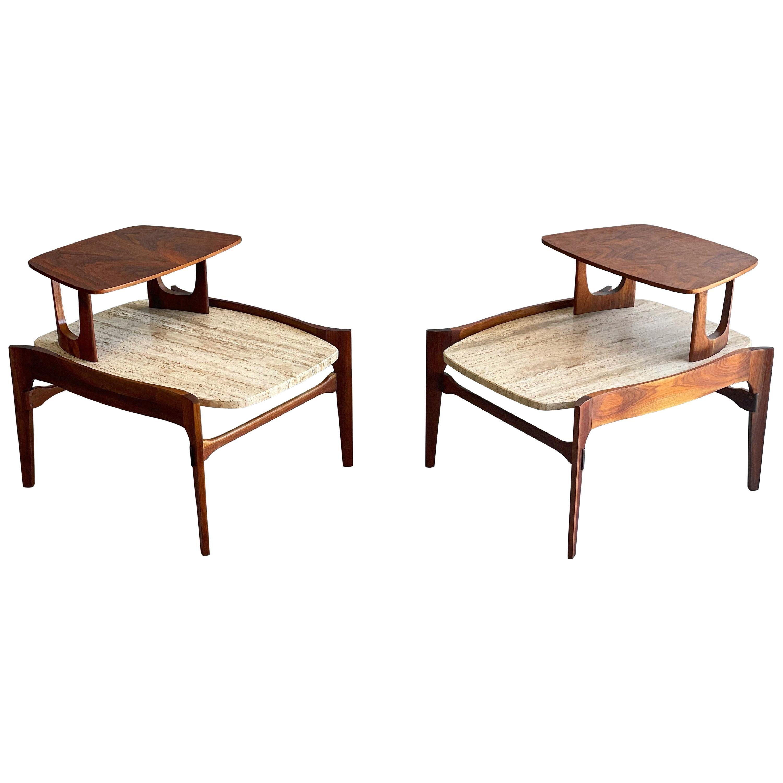 Midcentury Walnut and Travertine End Tables, Gordon's Fine Furniture, circa 1959