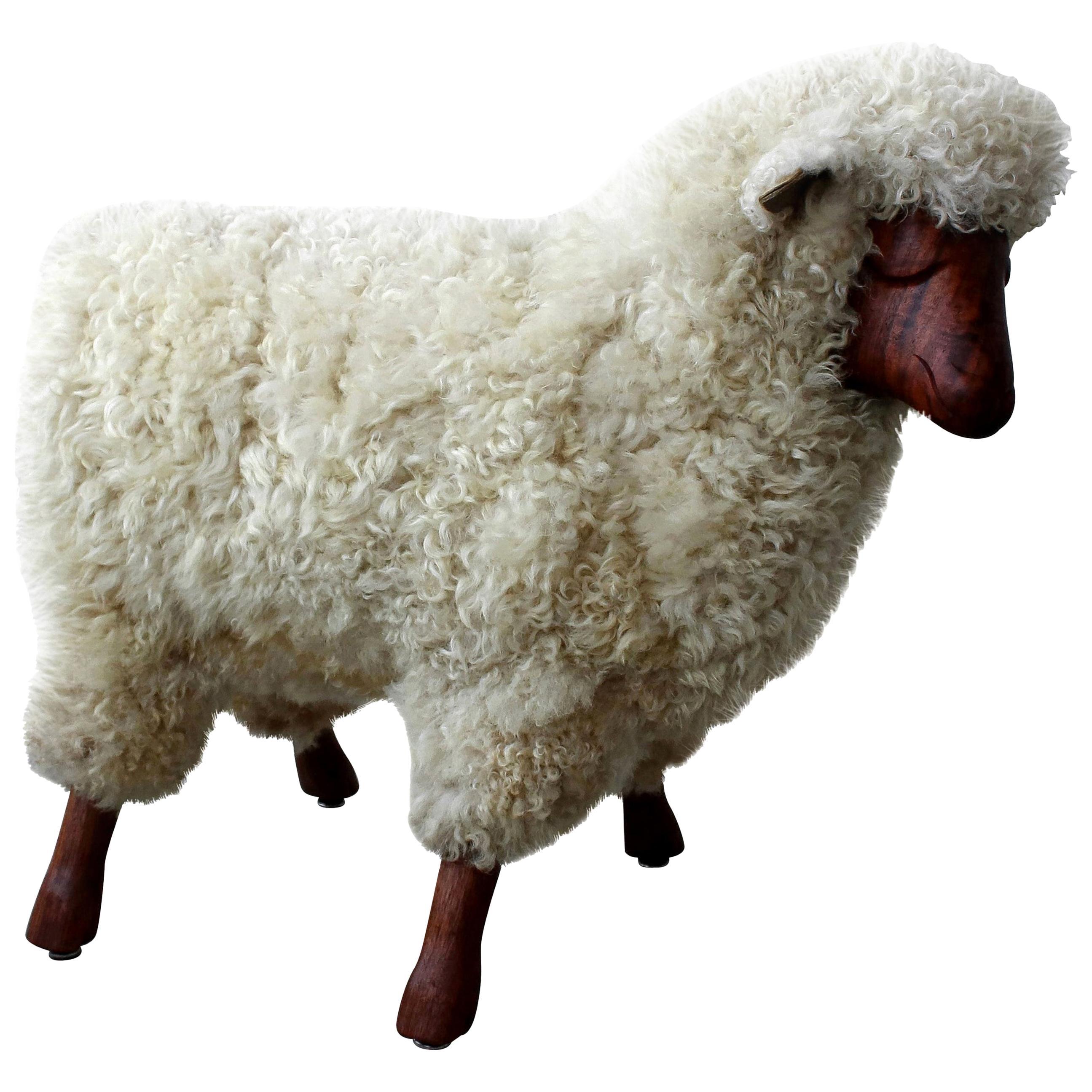 Midcentury Walnut and Wool Sheep Stool Sculpture