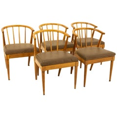 Mid Century Walnut Barrel Dining Chairs with Spindles, Set of 5