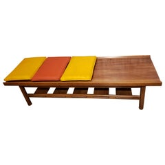 Midcentury Walnut Channel Bench