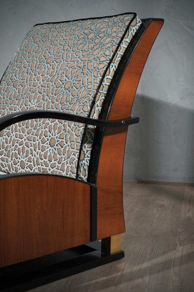 MidCentury Walnut Brass and Velvet Italian Armchairs, 1940 For Sale 9