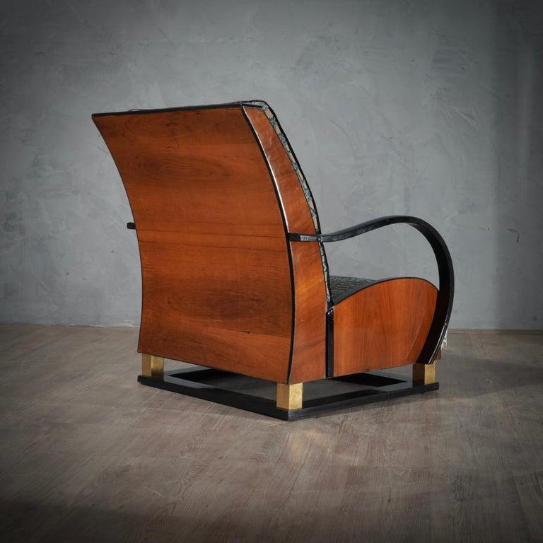 MidCentury Walnut Brass and Velvet Italian Armchairs, 1940 For Sale 10