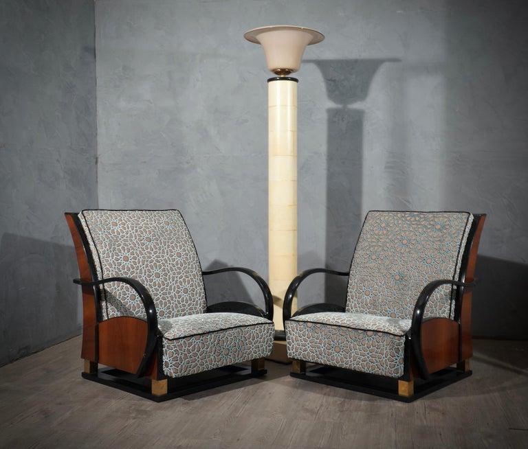 Mid-20th Century MidCentury Walnut Brass and Velvet Italian Armchairs, 1940 For Sale