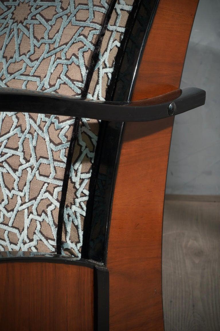 MidCentury Walnut Brass and Velvet Italian Armchairs, 1940 For Sale 2