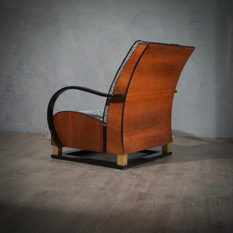 MidCentury Walnut Brass and Velvet Italian Armchairs, 1940 For Sale 4