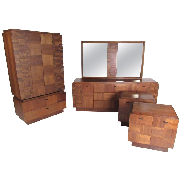 Art Nouveau Walnut 3 Piece Bedroom Suite: Midcentury Walnut Brutalist Bedroom Suite For Sale At 1stdibs