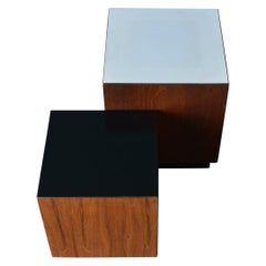 Midcentury Walnut Display Cubes or Side Tables, circa 1970