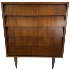 Midcentury Walnut Dresser with Louvered Drawers