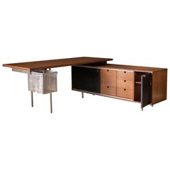 Mid Century Walnut Executive Desk and Return by George Nelson for Herman Miller