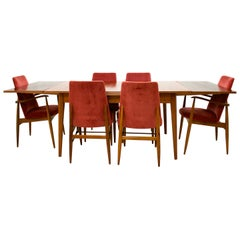 Midcentury Walnut Extending Dining Table and 6 Chairs by Vanson, 1960s