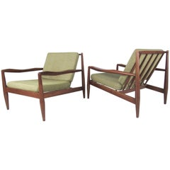 Midcentury Walnut Frame Lounge Chairs