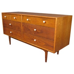 Midcentury Walnut Low and Long Chest of Drawers by Kipp Stewart for Drexel