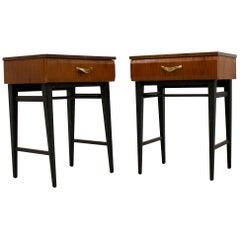 Midcentury Walnut Meredew Italian Influenced Bedside Cabinet Tables, Set of 2