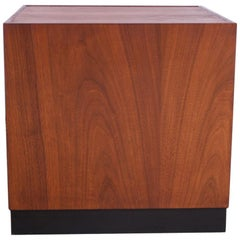 Midcentury Walnut Plinth Based Side Table Attributed to Milo Baughman