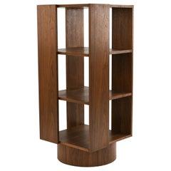 Midcentury Walnut Revolving 3-Tier Bookcase, Manner of Maurice Villency
