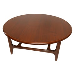 Midcentury Walnut Round Coffee or Cocktail Table by Lane, Altavista
