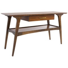 Midcentury Walnut Single Drawer Foyer Entry Console Table