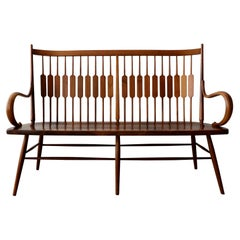 Midcentury Walnut Spindle Back Bench by Kipp Stewart for Drexel Declaration