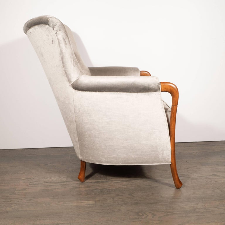 Midcentury Walnut Stained Birch Button Back Chair in Smoked Platinum Velvet In Excellent Condition For Sale In New York, NY