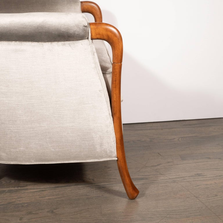 Mid-20th Century Midcentury Walnut Stained Birch Button Back Chair in Smoked Platinum Velvet For Sale