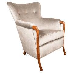 Midcentury Walnut Stained Birch Button Back Chair in Smoked Platinum Velvet