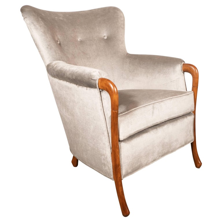 Midcentury Walnut Stained Birch Button Back Chair in Smoked Platinum Velvet For Sale