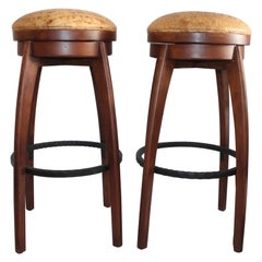 Midcentury Walnut Swivel Leather Seat Bar Stools, 2