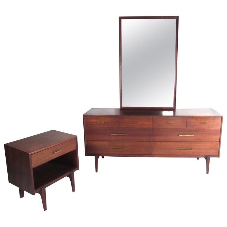 Midcentury Walnut Three Piece Bedroom Set For Sale