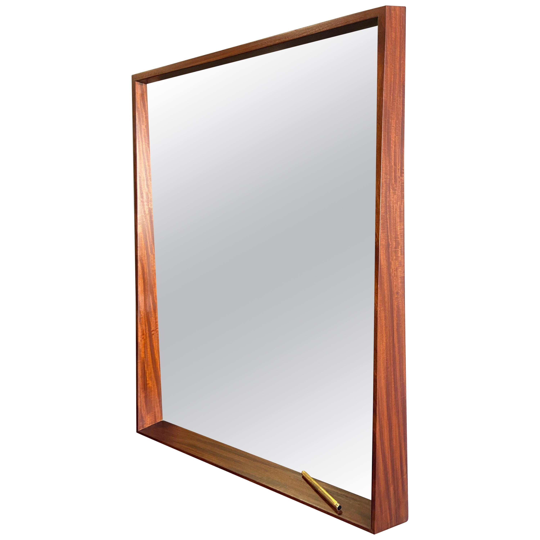Midcentury Walnut Wall Mirror with Bottom Ledge