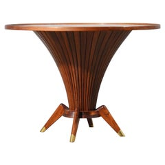 Midcentury Walnut Wood and Brass Italian Center Table, 1950