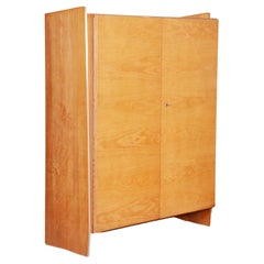 Midcentury Wardrobe Cabinet from Czechoslovakia, 1950s, Original Condition