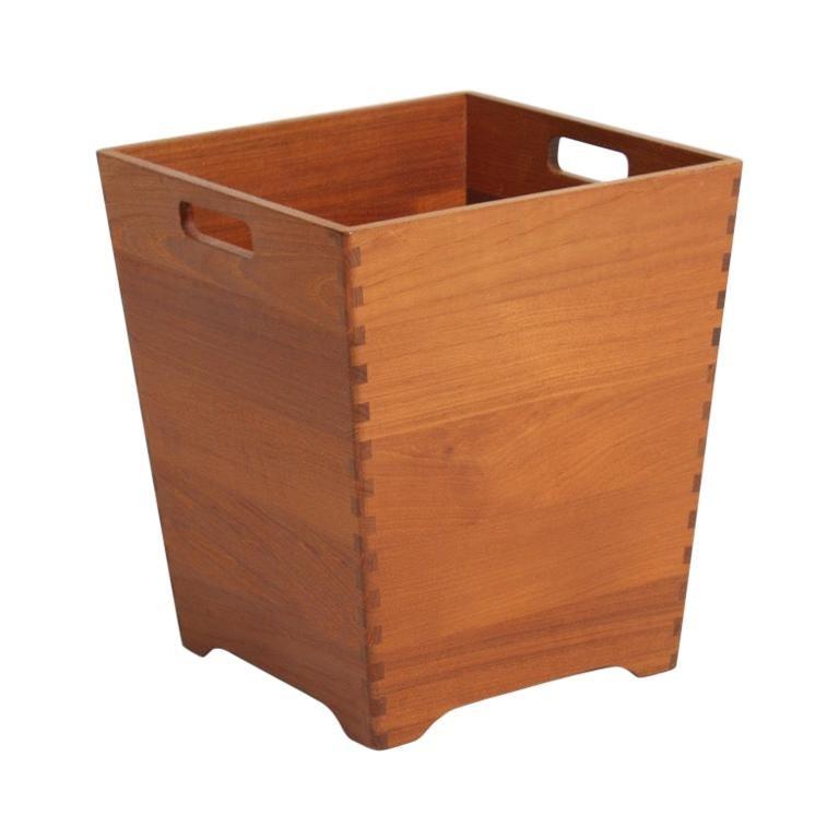Midcentury Waste Bin in Solid Teak, Made in Denmark For Sale