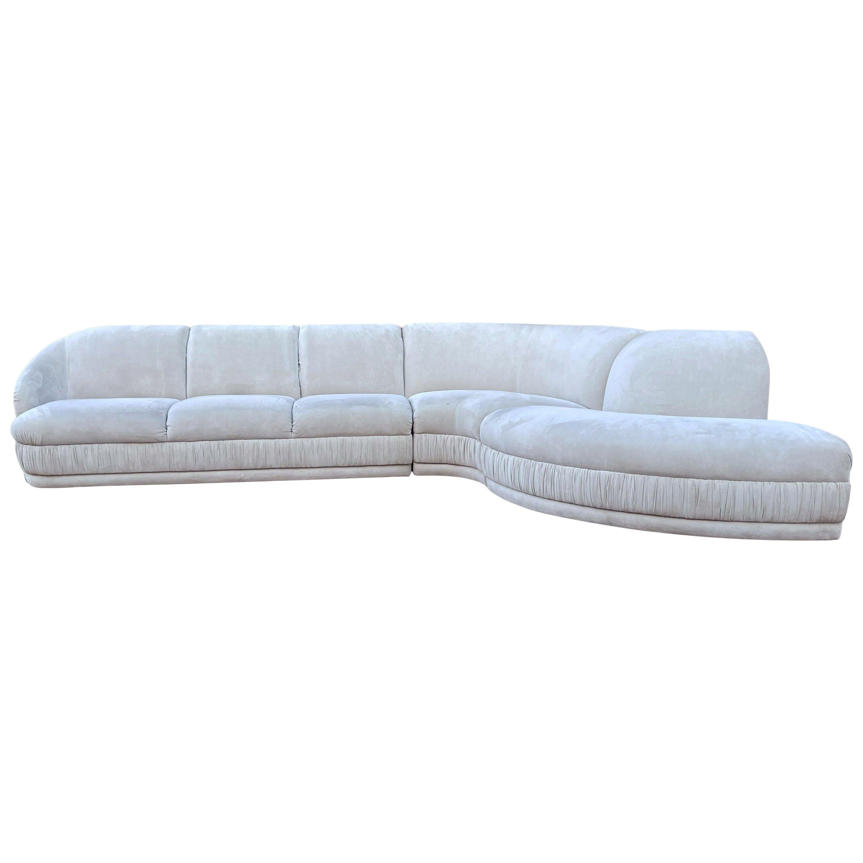 Midcentury Weiman 3-Piece Serpentine Sectional Cloud Sofa in Gray Velvet