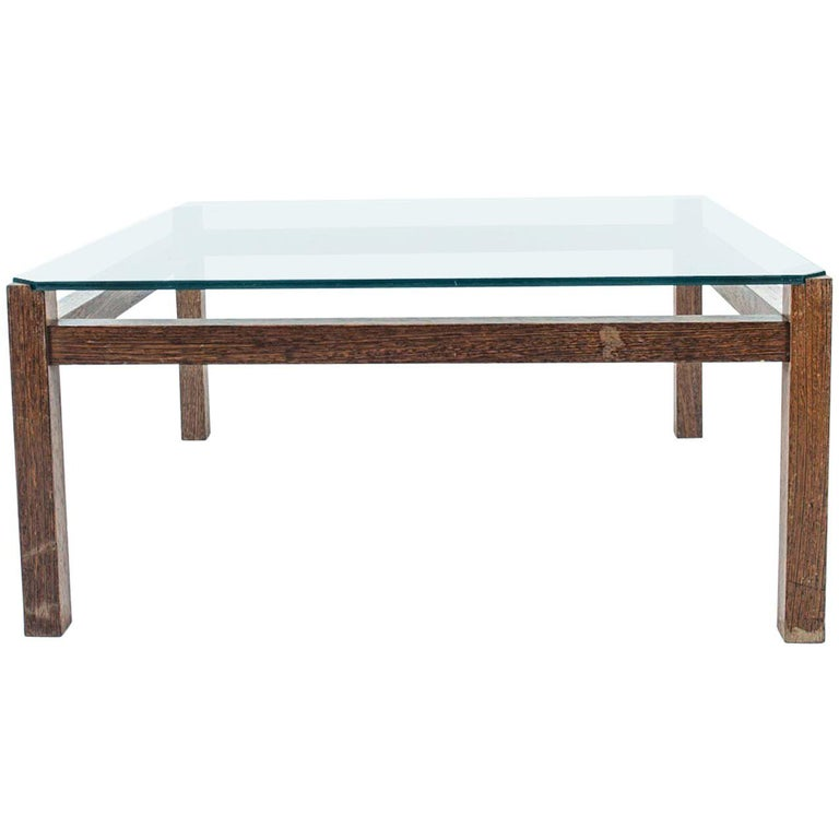 Midcentury Wengé and Glass Coffee Table designed by Kho Liang Ie for Artifort For Sale