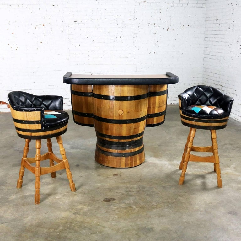 Midcentury Whiskey Barrel Bar And Swivel Bar Stools By Brothers Of