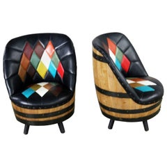 Midcentury Whiskey Barrel Swivel Barrel Chairs by Brothers of Kentucky, a Pair