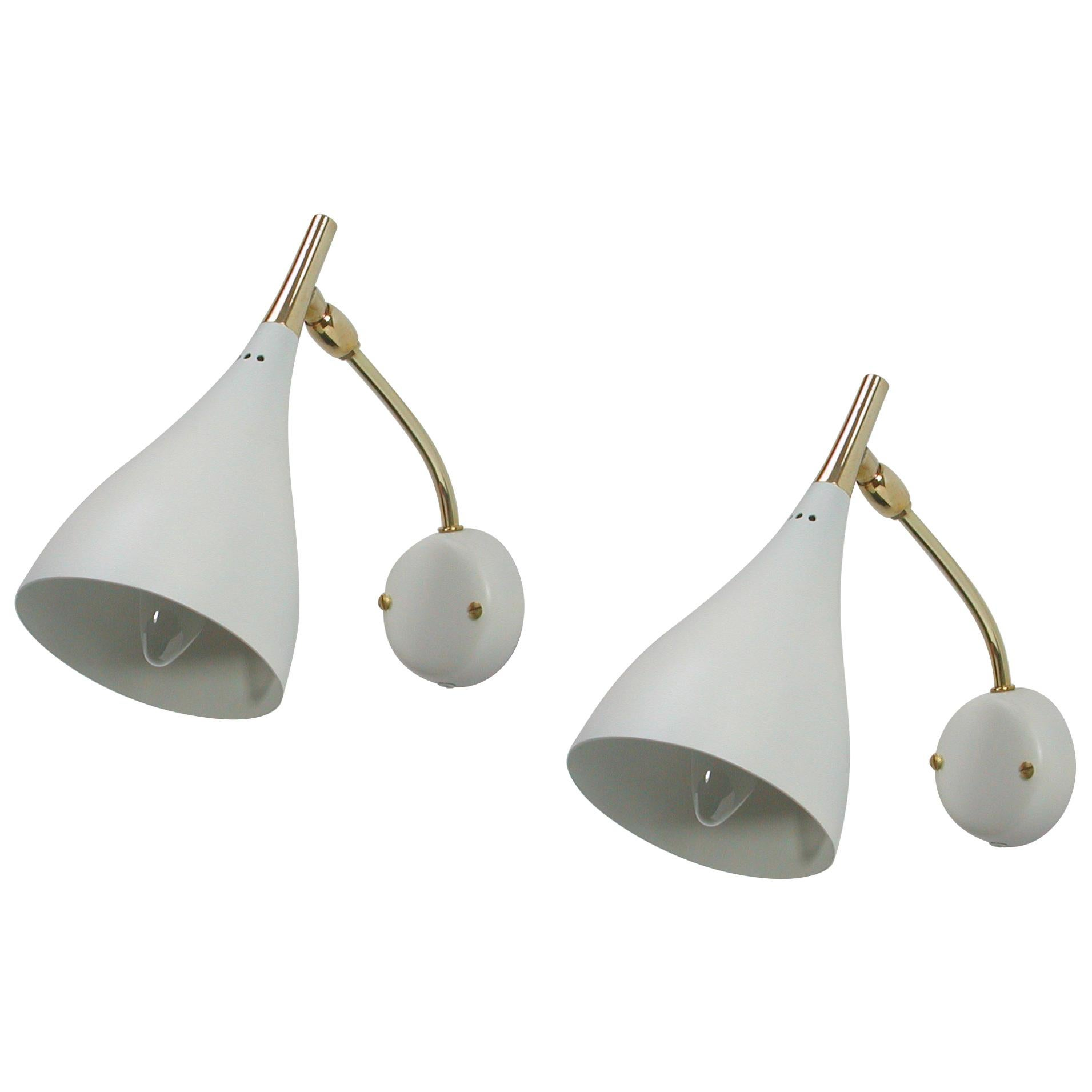 Midcentury White Adjustable Sconces, Wall Lights by Cosack, 1950s