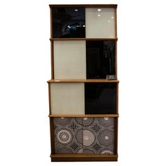 Midcentury White and Black Crystal and Upholstered Wood Fornasetti Cabinet, 1970